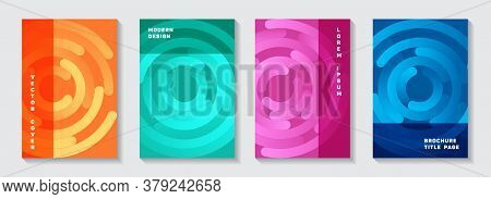 Business Catalog Covers Mockups. Techno Banner Circles Swirl Vector Backgrounds. Aim Goal Achievemen