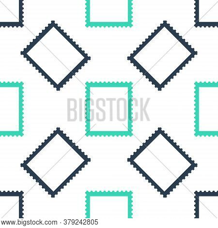 Green Postal Stamp Icon Isolated Seamless Pattern On White Background. Vector