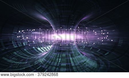 High Energy Particles Flow Through A Tokamak Or Doughnut-shaped Device. Antigravity, Magnetic Field,