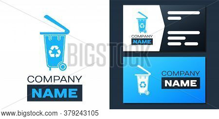 Logotype Recycle Bin With Recycle Symbol Icon Isolated On White Background. Trash Can Icon. Garbage