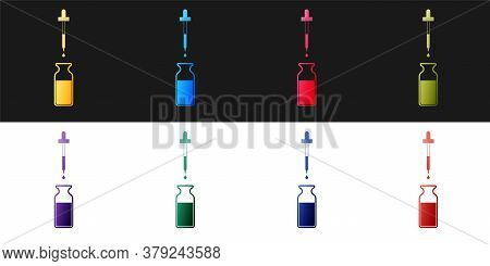 Set Glass Bottle With A Pipette. Vial With A Pipette Inside And Lid Icon Isolated On Black And White