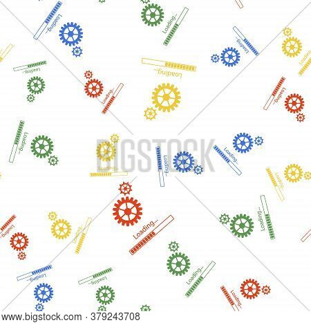 Color Loading And Gear Icon Isolated Seamless Pattern On White Background. Progress Bar Icon. System