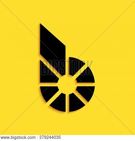Black Cryptocurrency Coin Bitshares Bts Icon Isolated On Yellow Background. Physical Bit Coin. Digit