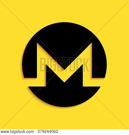 Black Cryptocurrency Coin Monero Xmr Icon Isolated On Yellow Background. Digital Currency. Altcoin S