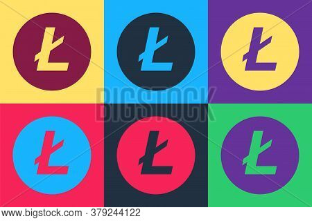 Pop Art Cryptocurrency Coin Litecoin Ltc Icon Isolated On Color Background. Digital Currency. Altcoi