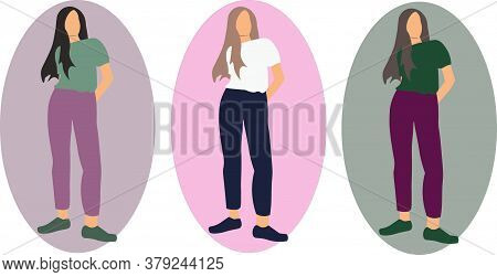 Set Of Vector Images Of Beautiful Proud Girls With Long Hair In T-shirts And Jeans.for A Website, Be