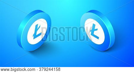 Isometric Cryptocurrency Coin Litecoin Ltc Icon Isolated On Blue Background. Digital Currency. Altco