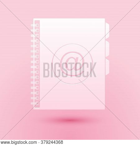 Paper Cut Address Book Icon Isolated On Pink Background. Notebook, Address, Contact, Directory, Phon