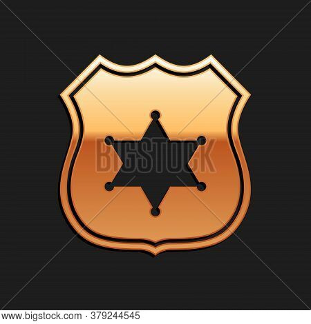 Gold Police Badge Icon Isolated On Black Background. Sheriff Badge Sign. Long Shadow Style. Vector