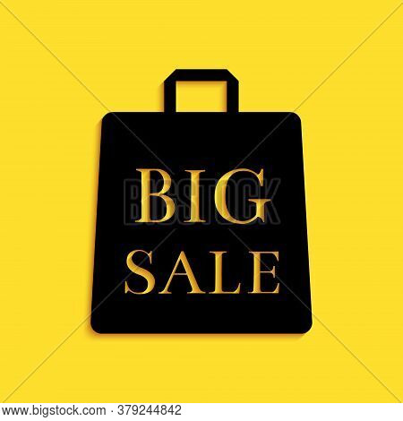 Black Shoping Bag With An Inscription Big Sale Icon Isolated On Yellow Background. Handbag Sign. Wom