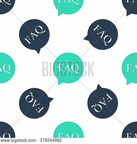 Green Speech Bubble With Text Faq Information Icon Isolated Seamless Pattern On White Background. Ci