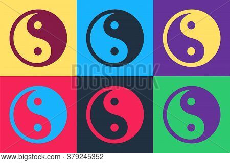 Pop Art Yin Yang Symbol Of Harmony And Balance Icon Isolated On Color Background. Vector