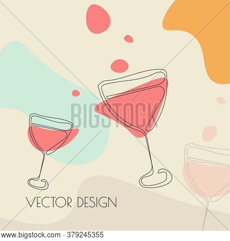 Glass Of Red Wine In Sketch Style. Vector Concept Illustration Of Alcoholic Drinks. Wineglass Icon.
