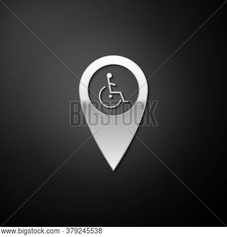 Silver Disabled Handicap In Map Pointer Icon Isolated On Black Background. Invalid Symbol. Wheelchai