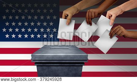 Us Election And United States Vote Or American Voters Voting In The Usa For A President Or Senator A