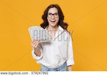 Cheerful Young Brunette Business Woman In White Shirt Glasses Isolated On Yellow Background. Achieve