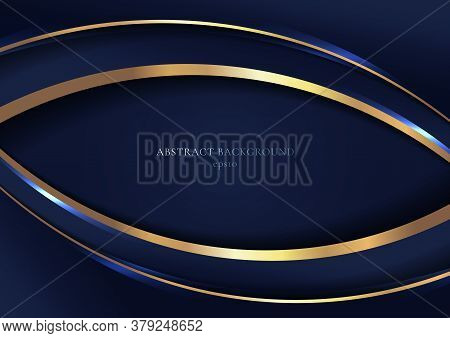 Abstract Elegant Blue Curved Geometric Overlap Layers With Stripe Golden Line And Lighting On Dark B