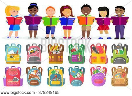 Schoolbags With Stationery Supplies Or Rucksacks, School Children With Books Vector. Pupils Or Stude