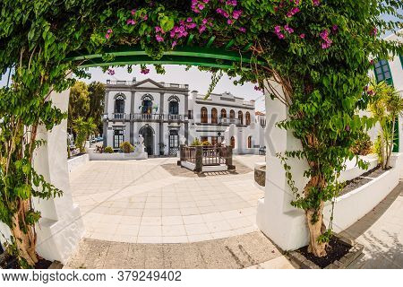 July 29, 2020. Haria, Lanzarote, Spain. The Old Architecture And Plants In Haria Town