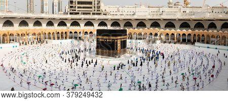 Muslim Pilgrims In Al Haram Mosque Makkah Performing Tawaf , Hajj Season At The Time Of The Corona C