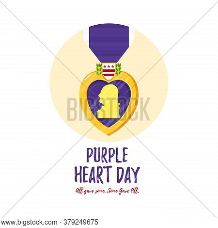 Vector Template Card Purple Heart Day. Badge And Purple Ribbon In Flat Style. Celebrate Honor, Coura