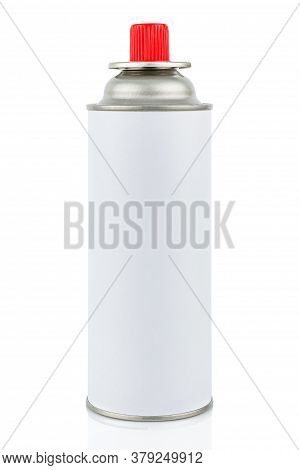 White Portable Gas Cylinder For Portable Gas Appliances With Closed Red Cap Isolated On White Backgr