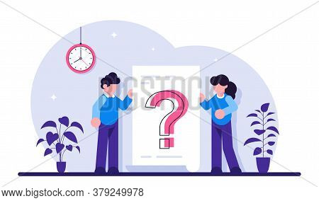 Question Mark On Document. Business Woman And Man Asking Questions Around A Huge Question Mark On Pa