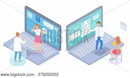 Isometric 3d Illustration In Flat Style. Unhealthy Woman Have High Temperature, Making Online Consul
