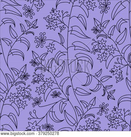 Nightshade. Floral Decorative Pattern. Seamless Pattern Of Dark Contours On A Light Purple Backgroun