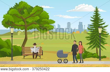 Happy Young Family With A Baby In Stroller Walking In Park Concept Flat Vector Illustration. Young P