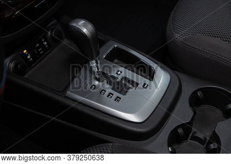 Novosibirsk/ Russia - July 26 2020: Hyundai Santa Fe, Close Up Of The Manual Gearbox Transmission Ha
