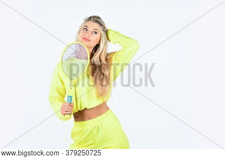 Play Game. Tennis Club Concept. Active Leisure And Hobby. Tennis Sport And Entertainment. Girl Play