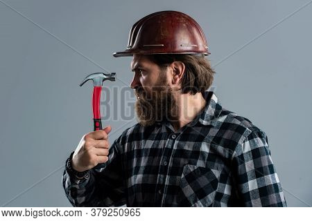 Building Is His Life. Engineer Architect Working In Safety Helmet. Brutal Technician Builder. Factor