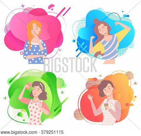 Girls Poses On Colorful Liquid Shape, Smiling Woman In Casual Clothes. Happy Lady With Rising Hands,
