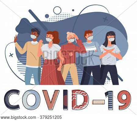 Group Of Multinational Men And Women In Medical Masks Protesting Against Coronavirus At Blue Flat Ve