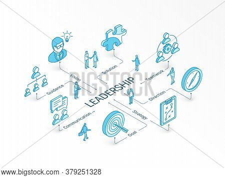 Leadership Isometric Concept. Connected Line 3d Icons. Integrated Infographic Design System. Vision,