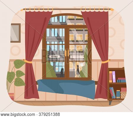 Illustration Of Living Room, Furniture, Window With Curtains With A View Of The Tall Buildings. Big