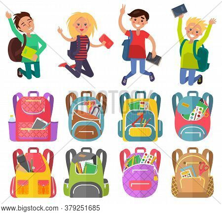Jumping Pupils With Backpack, School Bag With Pen And Pencil, Paints And Tassel, Notebook Sign. Smil