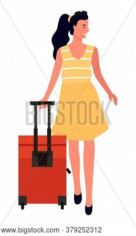 Traveler With Luggage Vector, Walking Woman With Babbage Looking Aside. Isolated Character Wearing S