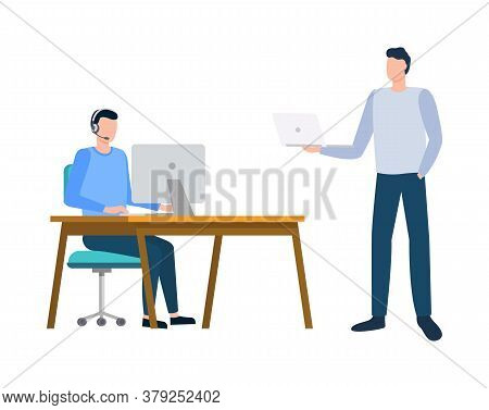 Men Communication With Computer, Manager Using Monitor, Portrait View Of Employee Characters Working