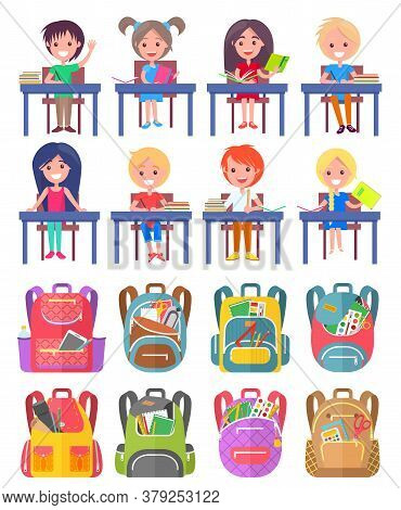 Smiling Classmates Sitting At Desktop With Notebook, Backpack Sticker On White. Girl And Boy Studyin