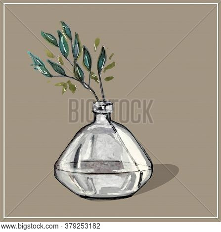 Watercolor Drawing Of A Glass Vase With Sprigs And Leaves In Water. Vector Isolated Image. You Can C