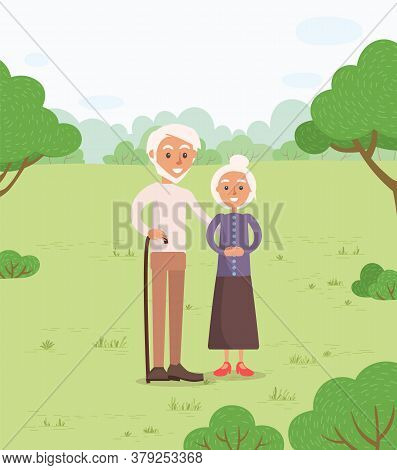 Senior Couple In Park Vector, Man And Woman Old Age Of Characters. Grandmother And Grandfather Walki