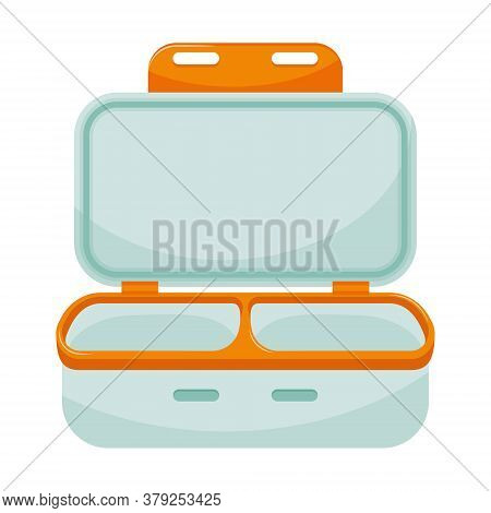 Empty Open Lunch Box With Two Departments. Dishes For Takeaway, Lunch At School Or At Work. Kitchen