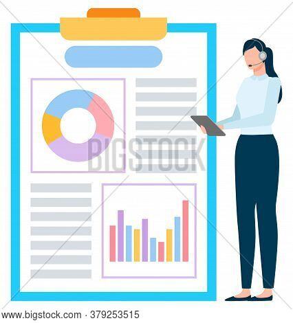 Worker In Headset Holding Tablet With Graph Report, International Business. Employee With Wireless D