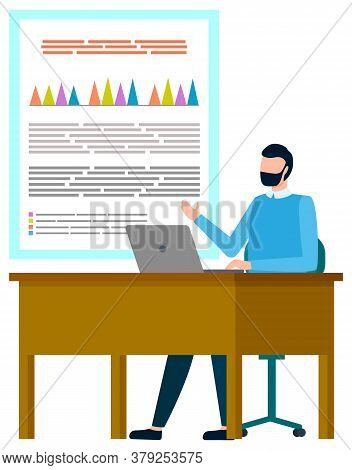 Man Worker Communication With Laptop, Board With Graph Report. Presenter Showing Chart, Internationa