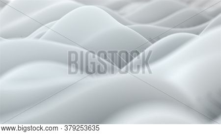 White Waves Slide Along The Surface Of Thin Stretched Strings, Computer Generated. 3d Rendering Of S