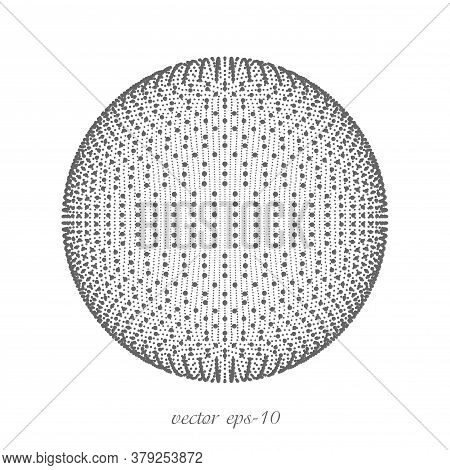 Sphere Of Dots On A White Background .technological Abstract Background Design Element.vector Illust
