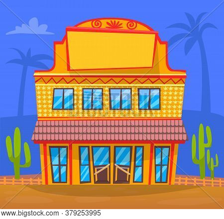 Building In Traditional Texas Style. Vector Construction, Facade Exterior Design Illustration. Typic