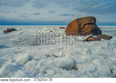 Ice Hummocks And Granite Stones Of The Glacial Period In The Gulf Of Finland